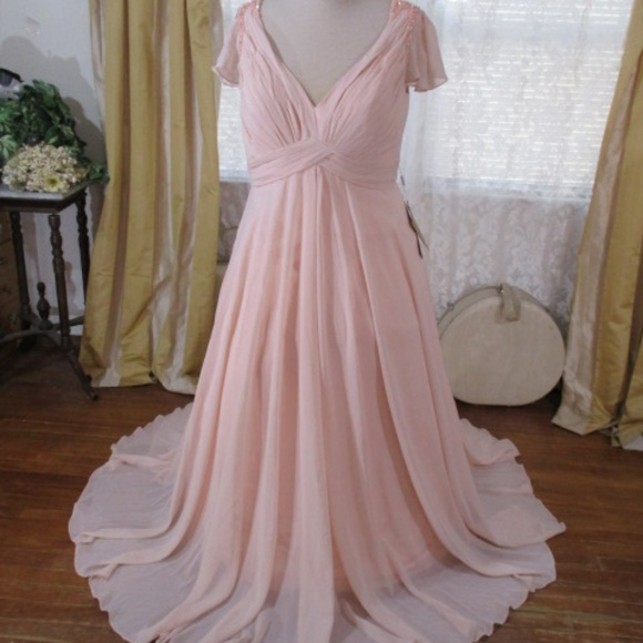 bf82b4fe78b Chiffon Sissy Flowing Formal Wedding prom Dress. M 5bb097267386bc6d9d58953d